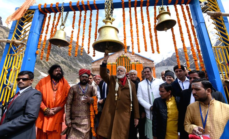Prime Minister Narendra Modi during his visit Kedarnath Temple on May 3, 2017. Uttarakhand Governor Dr. Krishan Kant Paul is also seen. - Narendra Modi