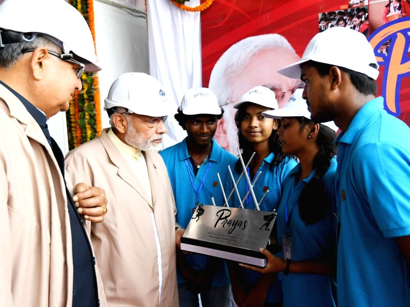 Prime Minister Narendra Modi during his visit to the modernised and expanded Bhilai Steel Plant on June 14, 2018. - Narendra Modi
