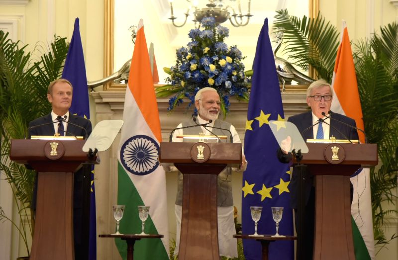 Prime Minister Narendra Modi, European Council President Donald Franciszek Tusk and European Commission President Jean-Claude Juncker during the joint press statement at Hyderabad House in ... - Narendra Modi