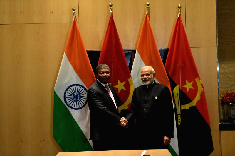 Prime Minister Narendra Modi in a bilateral meeting with the Angola President Joao Lourenco, on the sidelines of the BRICS Summit in Johannesburg, South Africa on July 27, 2018. - Narendra Modi