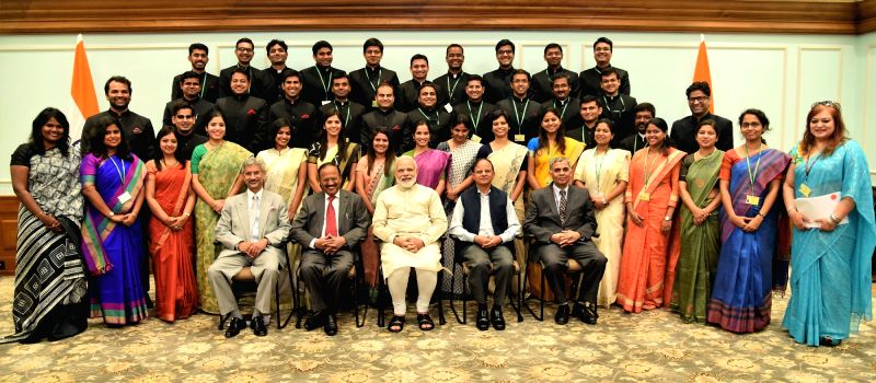 Prime Minister Narendra Modi in a group photograph with the Indian Foreign Service Officer Trainees, in New Delhi on May 2, 2017. - Narendra Modi