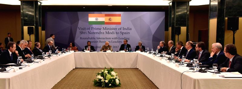Prime Minister Narendra Modi in a round table interaction with Spanish CEOs in Madrid, Spain on May 31, 2017. - Narendra Modi