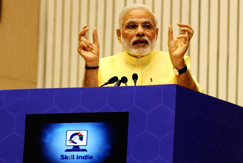 Prime Minister Narendra Modi in addresses at the launch ceremony of the Skill India Mission, on the occasion of the World Youth Skills Day, in New Delhi on July 15, 2015. - Narendra Modi