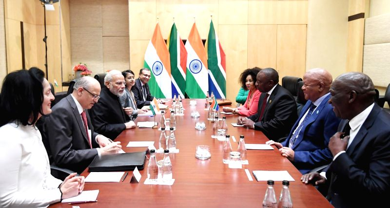 Prime Minister Narendra Modi in bilateral meeting with South African President Cyril Ramaphosa on the sidelines of the BRICS Summit in Johannesburg, South Africa on July 26, 2018. - Narendra Modi