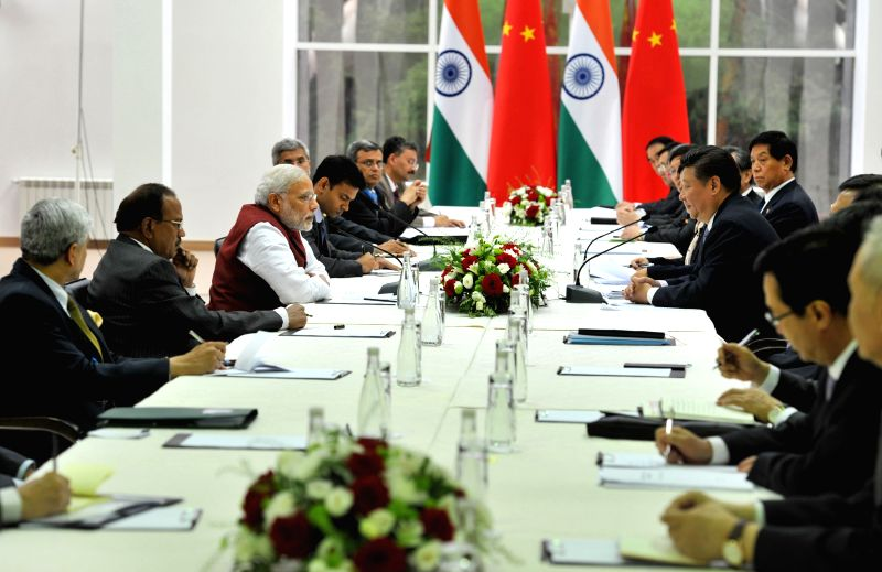 Prime Minister Narendra Modi in delegation level meeting with the China President Xi Jinping, in Ufa, Russia on July 8, 2015. - Narendra Modi