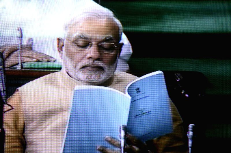 Prime Minister Narendra Modi in the Parliament during presentation of General Budget-2014-15 in New Delhi on July 10, 2014.
