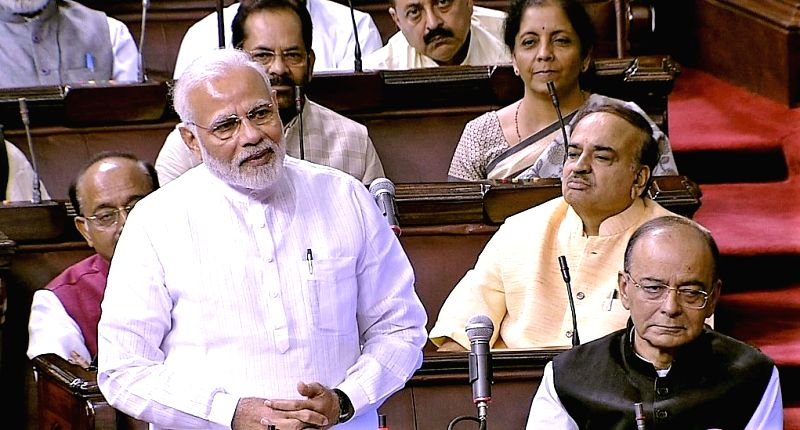 Prime Minister Narendra Modi in the Rajya Sabha where he congratulated Harivansh Narayan Singh, on his election as Deputy Chairman of the Rajya Sabha, in New Delhi on August 09, 2018. ... - Narendra Modi and Harivansh Narayan Singh