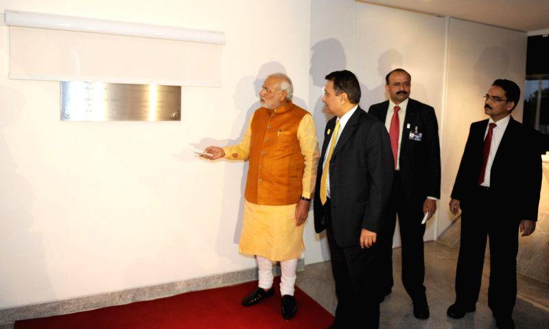 Prime Minister Narendra Modi inaugurates the New Chancery Building of the Indian Embassy in Brasilia, Brazil on July 16, 2014. - Narendra Modi
