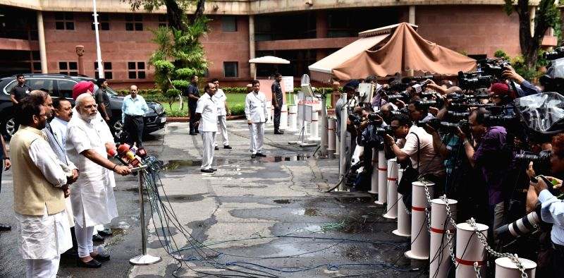 Prime Minister Narendra Modi interacting with the media at the start of Monsoon Session of Parliament, in New Delhi on July 18, 2016. - Narendra Modi
