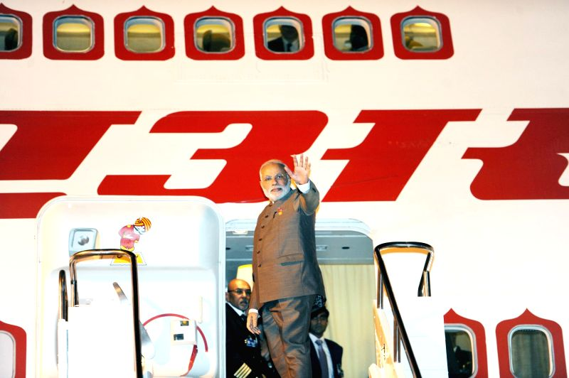 Prime Minister Narendra Modi leaves Fortaleza, emplanes for Brasilia to participate in the Sixth BRICS Summit on July 15, 2014. Sixth BRICS Summit is being held in Brazil. - Narendra Modi