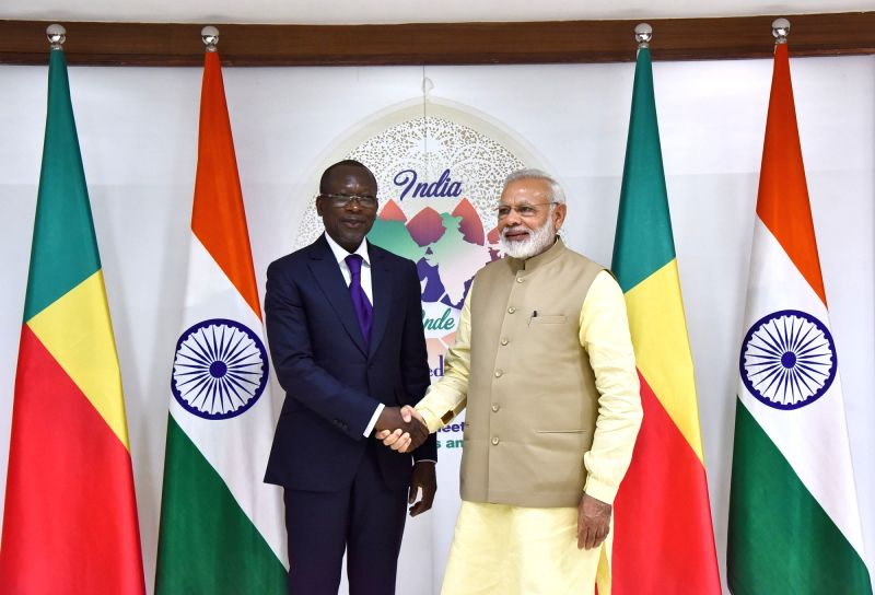Prime Minister Narendra Modi meets Benin President Patrice Talon, on the sidelines of the 52nd African Development Bank Annual meeting, in Gandhinagar, Gujarat on May 23, 2017. - Narendra Modi