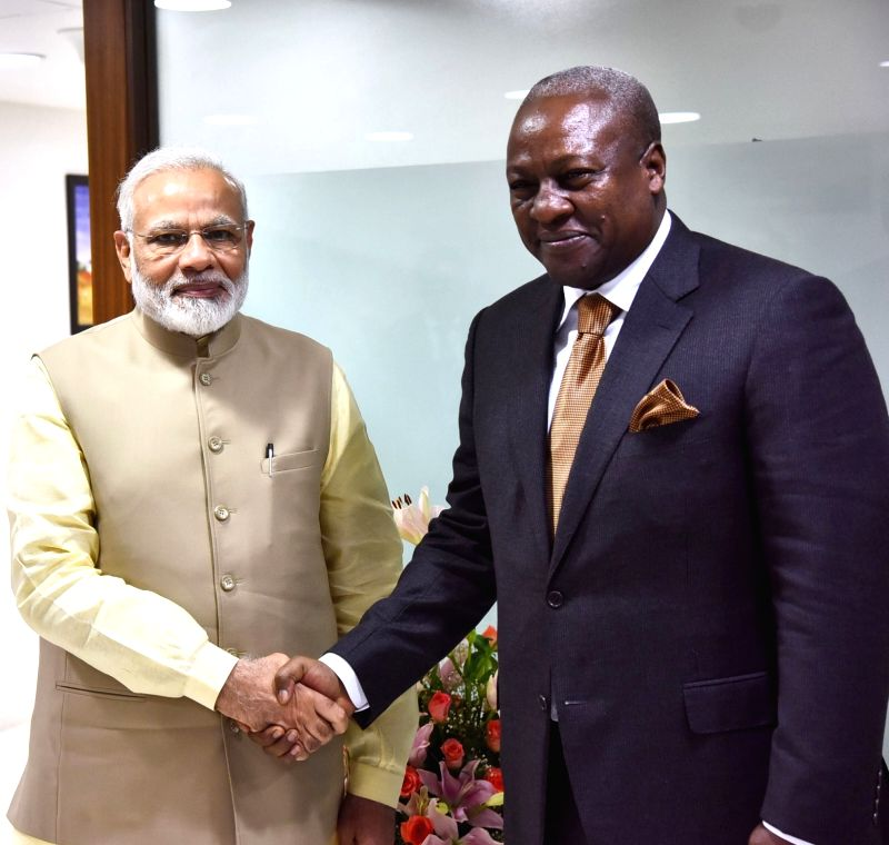 Prime Minister Narendra Modi meets former President of Ghana, John Dramani Mahama, on the sidelines of the 52nd African Development Bank Annual meeting, in Gandhinagar, Gujarat on May ... - Narendra Modi