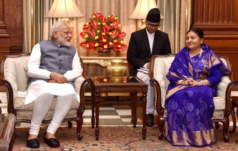 Prime Minister Narendra Modi meets Nepal President Bidya Devi Bhandari in New Delhi on April 18, 2017. - Narendra Modi