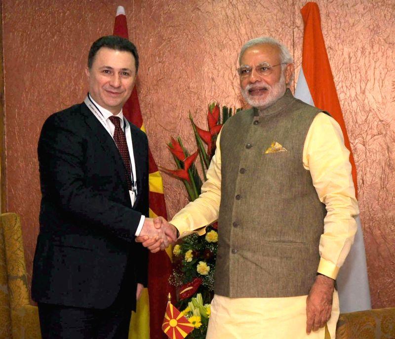 Prime Minister Narendra Modi meets Prime Minister of Macedonia, Nicola Gruevski, in Gandhinagar, Gujarat on Jan 11, 2015. - Narendra Modi