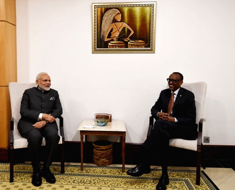 Prime Minister Narendra Modi meets Rwanda President Paul Kagame, in Rwanda's Kigali on July 23, 2018. - Narendra Modi