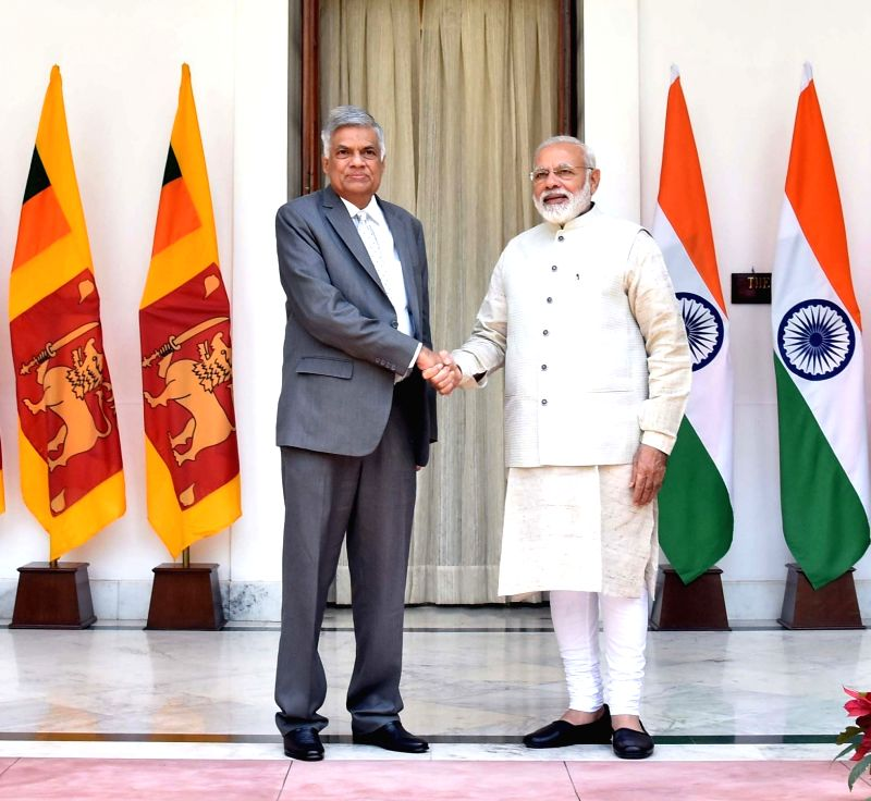 Prime Minister Narendra Modi meets Sri Lankan counterpart Ranil Wickremsinghe at Hyderabad House in New Delhi on April 26, 2017. - Narendra Modi