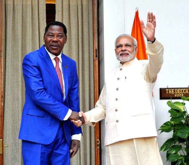 Prime Minister Narendra Modi meets the Benin President Dr. Boni Yayi during the 3rd India Africa Forum Summit, in New Delhi on Oct 28, 2015. - Narendra Modi