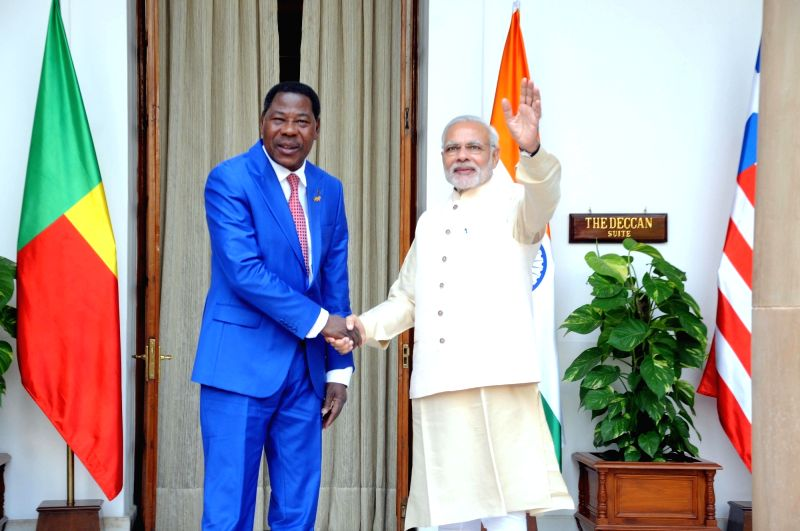 Prime Minister Narendra Modi meets the Benin President Dr. Boni Yayi during the 3rd India Africa Forum Summit, in New Delhi on Oct 28, 2015. - Narendra Modi