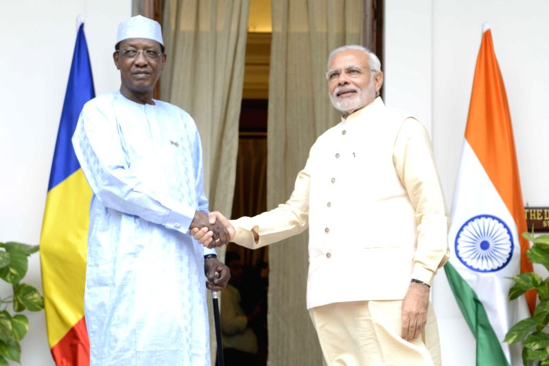 Prime Minister Narendra Modi meets the Chad President Idriss Deby during the 3rd India Africa Forum Summit, in New Delhi on Oct 28, 2015. - Narendra Modi