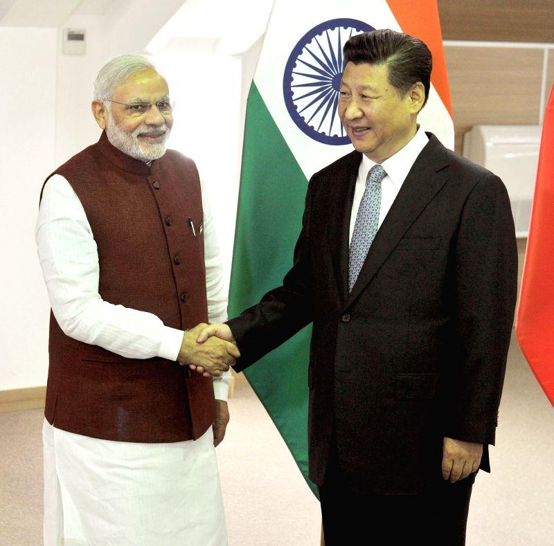 Prime Minister Narendra Modi meets the China President Xi Jinping, in Ufa, Russia on July 8, 2015. - Narendra Modi