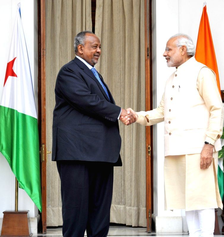 Prime Minister Narendra Modi meets the Djibouti President Ismail Omar Guelleh during the 3rd India Africa Forum Summit, in New Delhi on Oct 28, 2015. - Narendra Modi