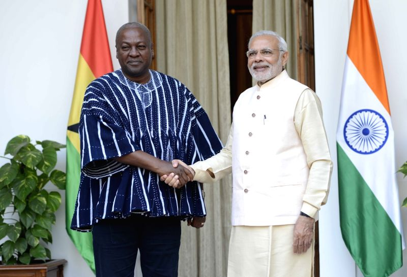 Prime Minister Narendra Modi meets the Ghana President John Dramani Mahama during the 3rd India Africa Forum Summit, in New Delhi on Oct 28, 2015. - Narendra Modi