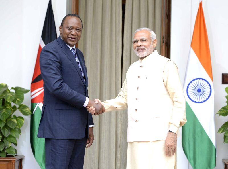 Prime Minister Narendra Modi meets the Kenya President Uhuru Kenyatta during the 3rd India Africa Forum Summit, in New Delhi on Oct 28, 2015. - Narendra Modi