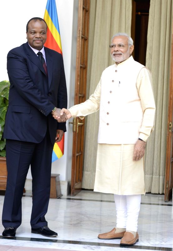 Prime Minister Narendra Modi meets the King Mswati III of Swaziland, during the 3rd India Africa Forum Summit, in New Delhi on Oct 28, 2015. - Narendra Modi