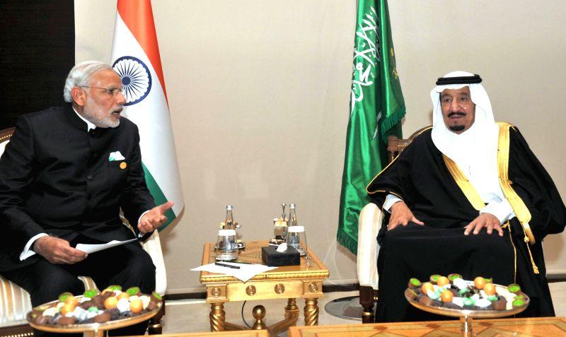 Prime Minister Narendra Modi meets the King Salman bin Abdul Aziz of Saudi Arabia, in Turkey on Nov. 16, 2015. - Narendra Modi