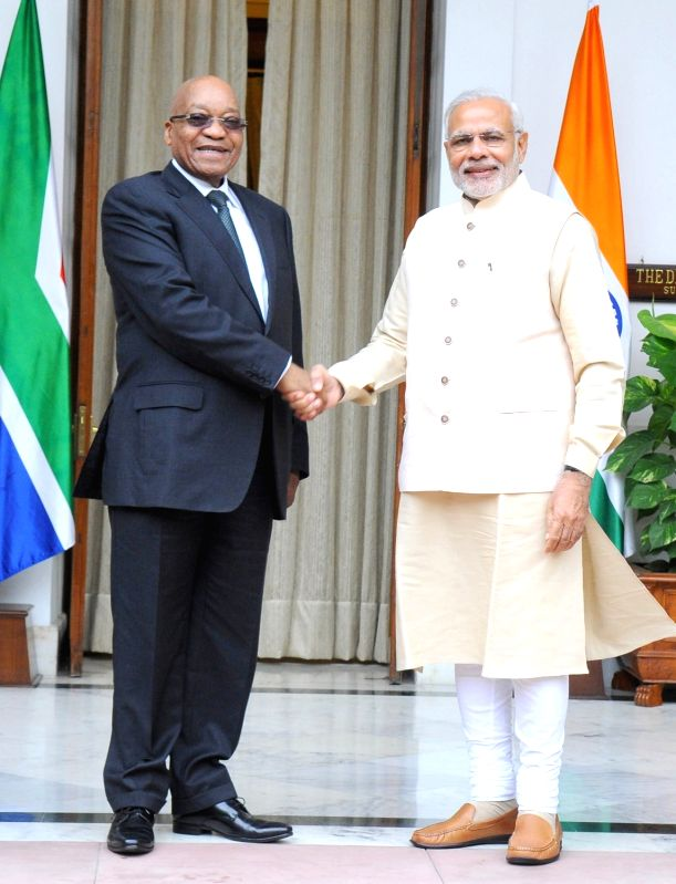 Prime Minister Narendra Modi meets the South Africa President Jacob Zuma during the 3rd India Africa Forum Summit, in New Delhi on Oct 28, 2015. - Narendra Modi