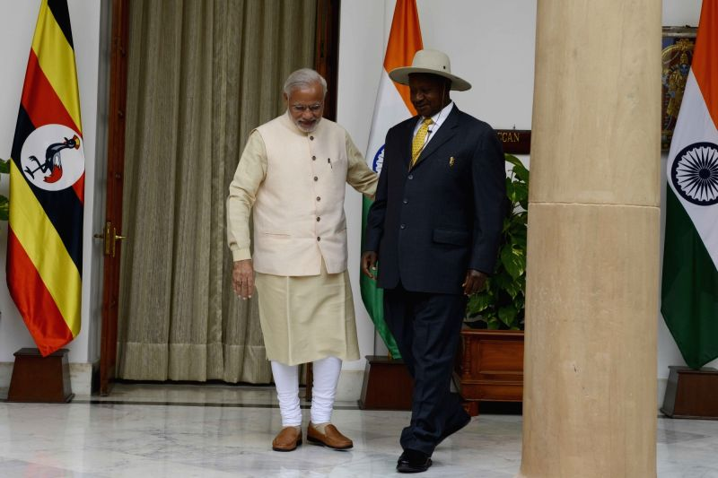 Prime Minister Narendra Modi meets the Uganda President Yoweri Museveni during the 3rd India Africa Forum Summit, in New Delhi on Oct 28, 2015. - Narendra Modi