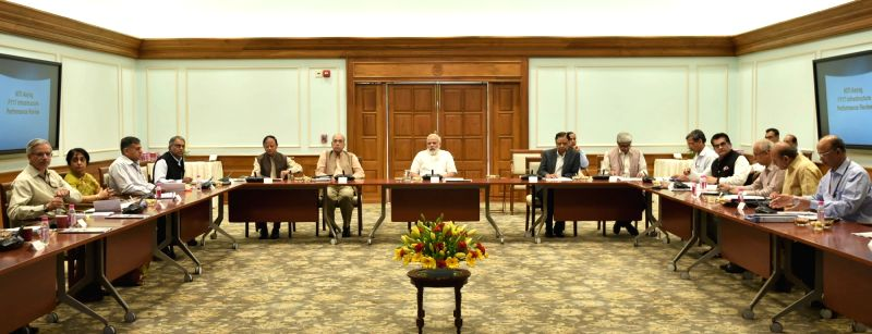 Prime Minister Narendra Modi reviews the performance of key infrastructure sectors, in New Delhi on April 26, 2017. - Narendra Modi