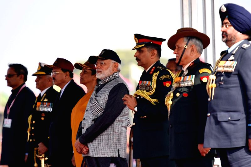 Prime Minister Narendra Modi, Union Defence Minister  Nirmala Sitharaman, MoS Defence  Subhash Ramrao Bhamre and the three Service Chiefs: Air Chief Marshal B.S. Dhanoa, General Bipin ... - Narendra Modi
