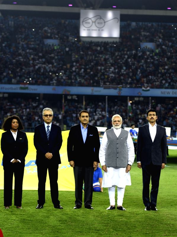 FIFA U-17 World Cup 2017 - Group A - India Vs USA - Modi - Narendra Modi, Rajyavardhan Singh Rathore and Praful Patel