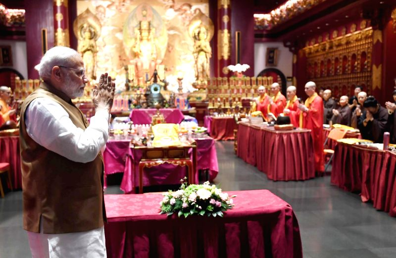 Prime Minister Narendra Modi visits the Buddha Tooth Relic Temple and Museum in Singapore on June 2, 2018. - Narendra Modi