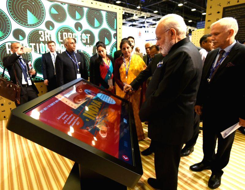 Prime Minister Narendra Modi visits the Make in India Pavilion, in St. Petersburg, Russia on June 2, 2017. - Narendra Modi