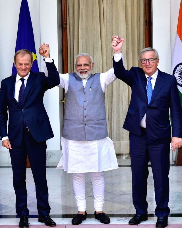 Prime Minister Narendra Modi welcomes European Council President Donald Franciszek Tusk and the European Commission President Jean-Claude Juncker, at Hyderabad House, in New Delhi on Oct ... - Narendra Modi