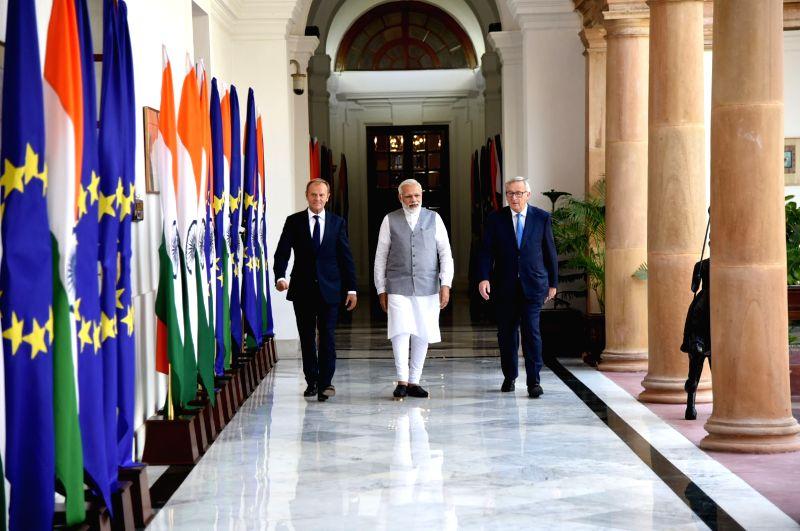 Prime Minister Narendra Modi welcomes President, European Council, Donald Franciszek Tusk and President, European Commission, Jean-Claude Juncker, at Hyderabad House, in New Delhi on ... - Narendra Modi