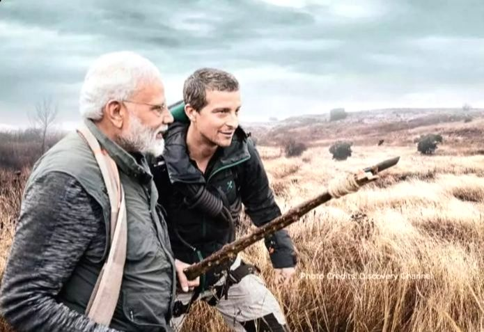 "A scene from Prime Minister Narendra Modi's episode of ""Man Vs Wild"", the popular television programme on Discovery Channel"