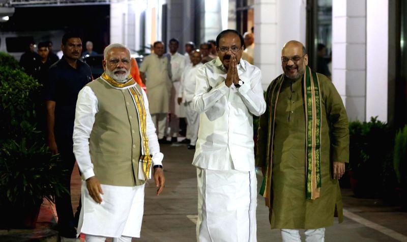 Venkaiah Naidu is NDA's Vice President pick - Narendra Modi, M. Venkaiah Naidu and Amit Shah