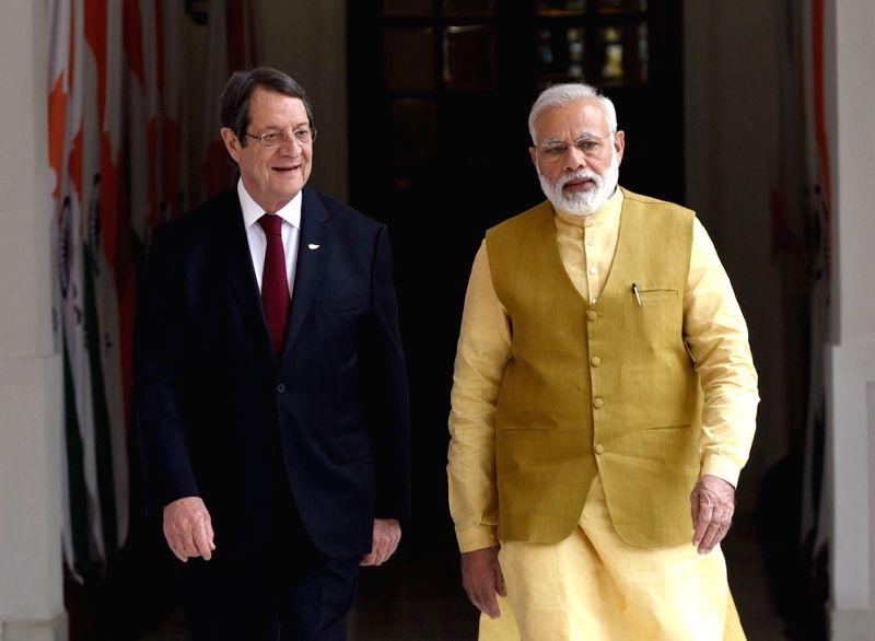 Prime Minister Narendra Modi with Cyprus President Nicos Anastasiades at Hyderabad House in New Delhi on April 28, 2017. - Narendra Modi