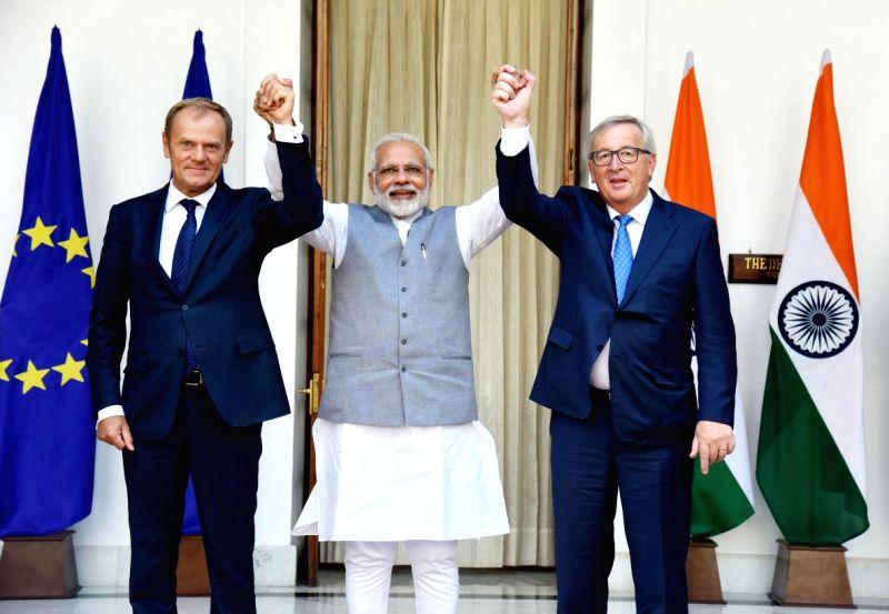 Prime Minister Narendra Modi with President, European Council, Donald Franciszek Tusk and President, European Commission, Jean-Claude Juncker, at Hyderabad House, in New Delhi on October ... - Narendra Modi