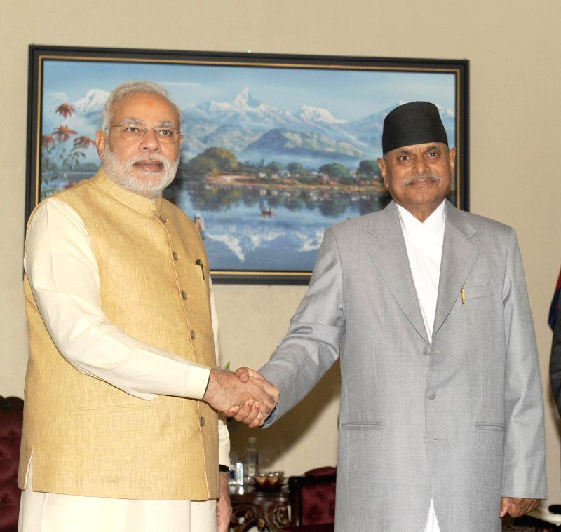 Prime Minister Narendra Modi with President of Nepal, Dr. Ram Baran Yadav during a meeting in Kathmandu, Nepal on August 04, 2014. - Narendra Modi and Baran Yadav