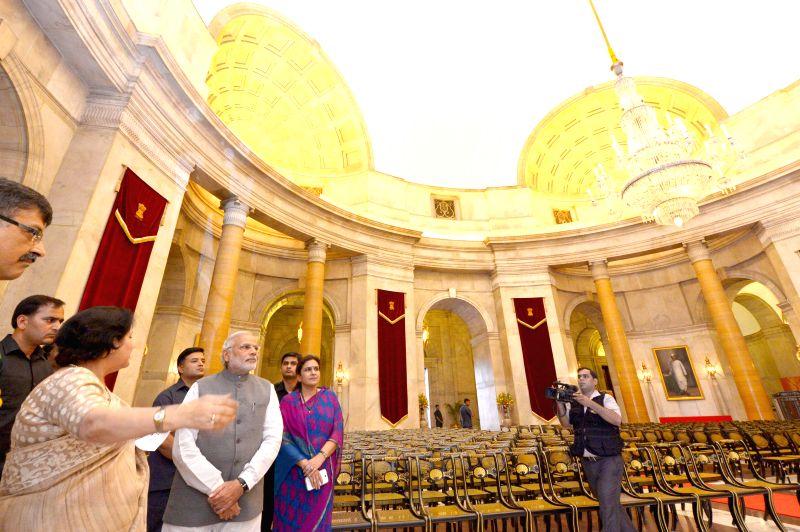 Prime Minister Narendra Modi with Secretary to the President Omita Paul at Rashtrapati Bhavan in New Delhi on July 3, 2014. - Narendra Modi