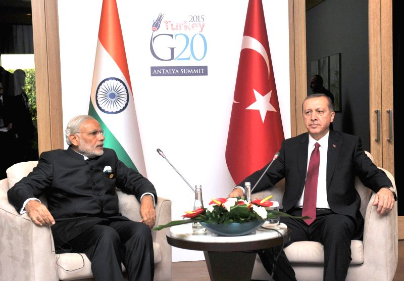 Prime Minister Narendra Modi with the Turkey President Recep Tayyip Erdogan in a bilateral meeting, on the sidelines of G20 Summit 2015, in Turkey on Nov. 16, 2015. - Narendra Modi