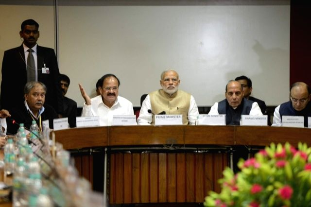 Prime Minister Narendra Modi with Union Minister for Finance, Corporate Affairs, and Information and Broadcasting Arun Jaitley, Union Minister for Urban Development, Housing and Urban ... - Narendra Modi, M. Venkaiah Naidu, Arun Jaitley and Rajnath Singh
