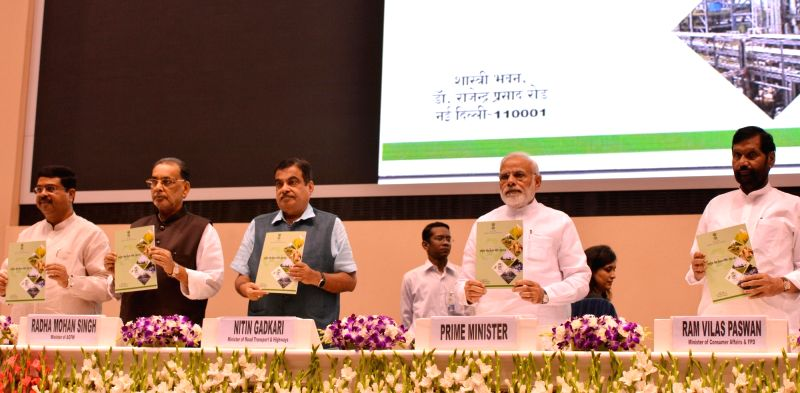 "Prime Minister Narendra Modi with Union Ministers Nitin Gadkari, Radha Mohan Singh, Ram Vilas Paswan, Harsh Vardhan and Dharmendra Pradhan releases a booklet on ""National Policy on ... - Narendra Modi, Nitin Gadkari, Radha Mohan Singh, Ram Vilas Paswan, Harsh Vardhan and Dharmendra Pradhan"