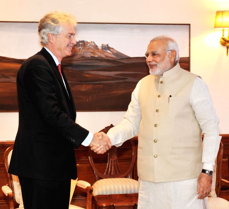 Prime Minister Narendra Modi with US Deputy Secretary of State, William Joseph Burns during a meeting in New Delhi on July 11, 2014. - Narendra Modi