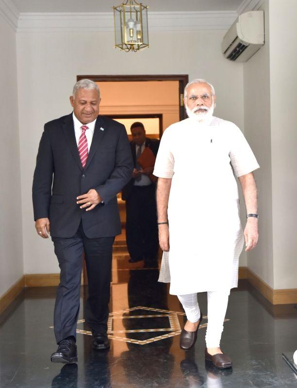 Prime Minister of Fiji Josaia Voreqe Bainimarama calls on Prime Minister Narendra Modi, in New Delhi on May 19, 2016. - Narendra Modi