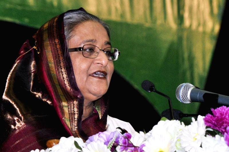 Prime Minister Sheikh Hasina addresses during inauguration of National Fish Week at Bangabandhu International Conference Centre in Dhaka, Bangladesh on July 2, 2014. - Sheikh Hasina